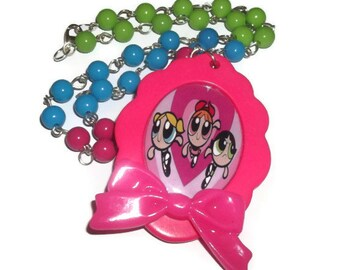 Powerpuff Girls Necklace, Large Cameo, Beaded Kawaii Hot Pink, Bubbles Blossom and Buttercup