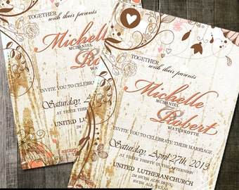 Country Rustic Wedding Invitation Chic Fancy Flourishes on White Wood Background wedding invite digitable printable - 2 choices