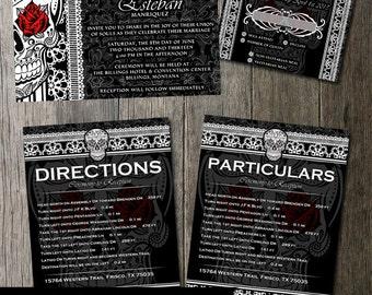 Skull Wedding Invitation Dia De Los Muertos Gothic Wedding Offbeat Invitation Wedding Stationery