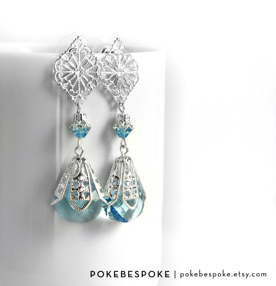 Drop Aquamarine Blue Crystal Earrings with Filigree - Bridal Earrings