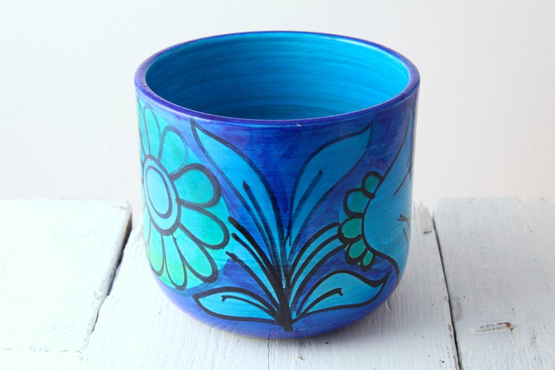 Italian Pottery Planter Flower Pot Vase Rimini Blue