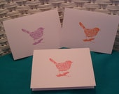 Set of 6 Hand Stamped Bird Note Cards