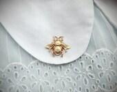 SALE tiny bee keeper - golden honey bee brooch