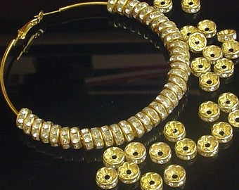 Sale - 100 pcs - GOLD  - Paparazzi Basketball wives Crystal - 8mm - Rondell beads