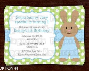 Bunny Rabbit Boy Theme Birthday Party Invitation | Blue & Green | Personalized | Printable DIY Digital File