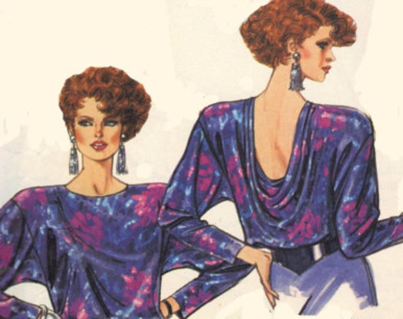 McCall's 80s Sewing Pattern Draped Blouse Cowl Neck Shirt Low Neckline Long Sleeves Sleeveless Back Drape Top Plus Size Bust 40