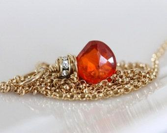 Wrapped orange gemstone necklace / zircon w / diamond cubic zirconia on 14k gold filled chain / jewelry by girlthree
