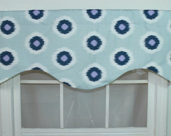 Ikat circle shaped valance available in blue, taupe and grey