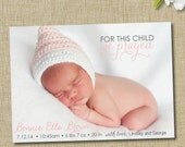 modern birth announcement. custom photo card. photo baby announcement. For this child we prayed