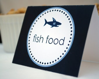 Shark Party Printable food tents. EDITABLE INSTANT DOWNLOAD