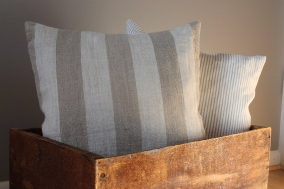 cottage chic pillow // Italian linen pillow cover // cinnamon dolce // 16 x 16 square made to order