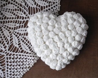 Heart fabric flowers Hanging home decor white handmade READY TO SHIP