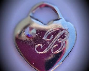 Letter B Silver Plated Genuine Swarovski Crystal AB Handmade Heart Charm