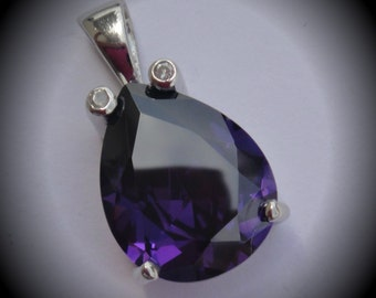 Genuine Solid Sterling Silver With Purple Cubic Zirconia Pendant