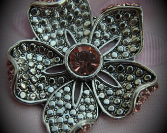 Light Pink Flower Silver Plated Marcasite Pendant With Crystals
