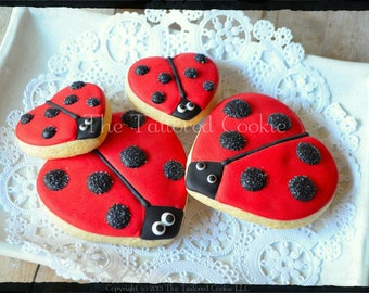 Ladybug Shortbread Sugar Cookie Favors by The Tailored Cookie
