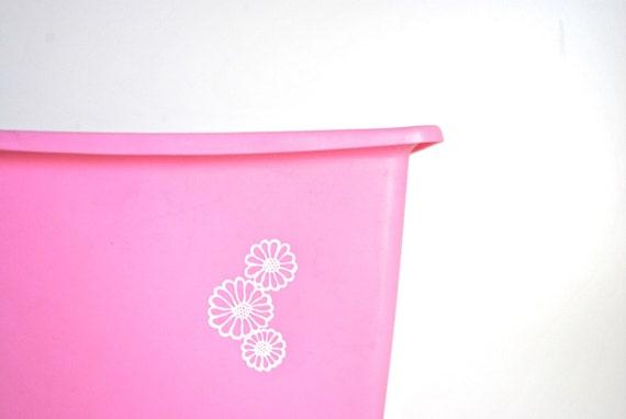 Pink Vintage Wastebasket with Flowers