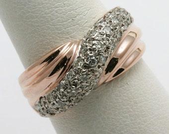 Handmade 14k rose pink gold DIAMOND ring band 2/3 carat Pave twist wide