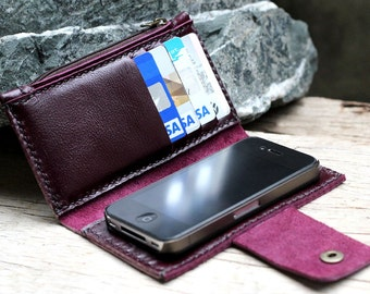iPhone4/ Purple leather iPhone wallet with case and mini zip