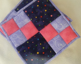 Purple and Pink Quilted Potholders - Set of 2