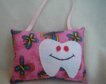 Pink Butterfly Tooth Fairy Pillow - 100% HANDMADE