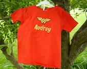 Superhero t-shirt, Girls T-Shirt, Red (Free Personalization)