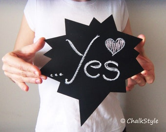 Chalkboard Speech Bubble  -- Reusable Wooden Chalkboard Photo Prop for Wedding Photo Booth, Engagement Photos, Maternity or Baby Props