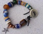 Sterling Star Vintage African Trade Bead Bracelet