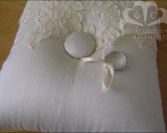 Gorgeous Silk Ring Bearer Pillow in Ivory with Vintage French Alencon Lace Aplique