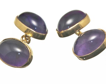Amethyst Cufflinks Double Ovals Gold Plated Sterling Silver 925