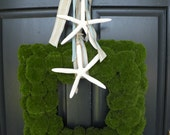 Square Faux Moss Starfish Beach Summer Wreath