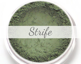 "Eyeshadow Sample - ""Strife"" - matte khaki green/olive/lichen (Vegan) Mineral Makeup Eye Color Pigment"