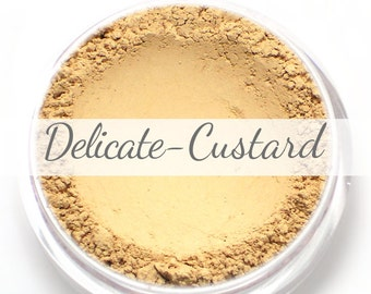 Vegan Mineral Foundation Sample - Delicate Formula CUSTARD - light/medium shade with a neutral undertone