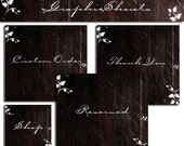 Etsy Shop Banner Set - Banners and Avatars - Boutique Dark Wood Floral Set