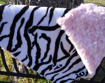 Baby Girl Security Blanket Lovey or Doll Blanket Zebra Print