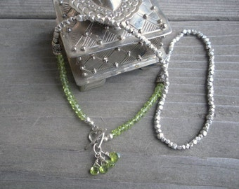 Peridot Sterling Silver Charm Necklace, Bali Sterling Peridot Necklace