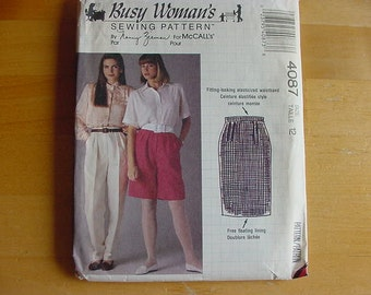 UNCUT 1989 McCalls Busy Woman's By Nancy Zieman Pattern 4087 Misses' Skirt, Pants and Shorts   Size 12