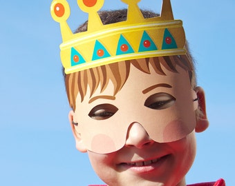 KING Paper Mask - Children Party Favor - Printable PDF Toy - DIY Craft Kit Paper Toy - Party Favor - Costume Accessory - Dress up