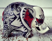 Elephant statue, Elephant bank, Baby elephant, Ceramic elephant, hand painted black, white and red elephant, glazed
