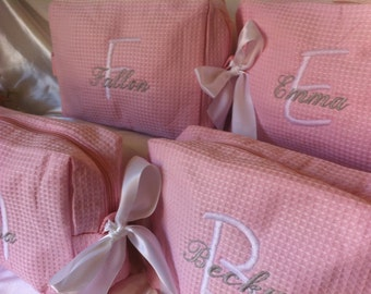11 Personalized wedding party waffle weave cosmetic bags