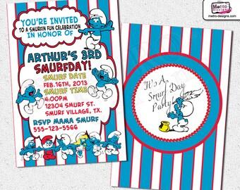 Smurfs Invitations, Smurfs Birthday Invitations, Invitations, Invitation, Smurfs Invitation, Smurfs Birthday, Smurfs Party Invitations
