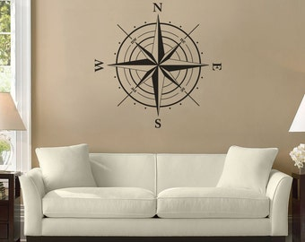 Compass Rose Decal, Living Room Decor, Vinyl Stickers, Home Decoration, Wall Art, Vinyl Wall Decals, North South West East Sign - ID29 [p]