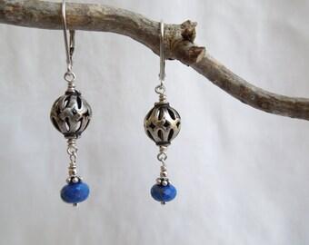 Deep Blue Gemstone Earrings: AAA Lapis Lazuli, Bali Sterling Silver, Vintage Silver Beads