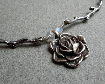 Winter Garden Necklace: Silver Rose, Branches, Rainbow Moonstones
