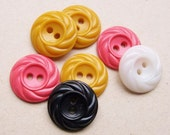 vintage buttons of mixed colors and same design--mustard, hot pink, white, black--lot of 7
