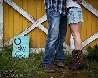 Lucky in love reclaimed wood wedding engagement wood sign