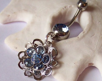 SALE Belly Button Ring - Piercing - Curved Barbell - Navel Piercing - Sapphire or Peridot Swarovski Crystal Flower Drop - ONE BLUE Left!