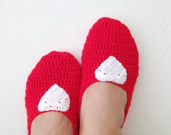 Red with white heart Slipper Socks, Tweed Crochet Womens Slippers, Ballet Flats, House Shoes