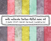 watercolor texture backgrounds, girls digital paper, pink gray aqua blue mustard yellow, photography backgrounds, instant download 447