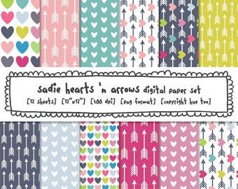 girls hearts & arrows digital paper, instant download digital backgrounds, pink magenta mustard yellow aqua baby blue, instant download 441